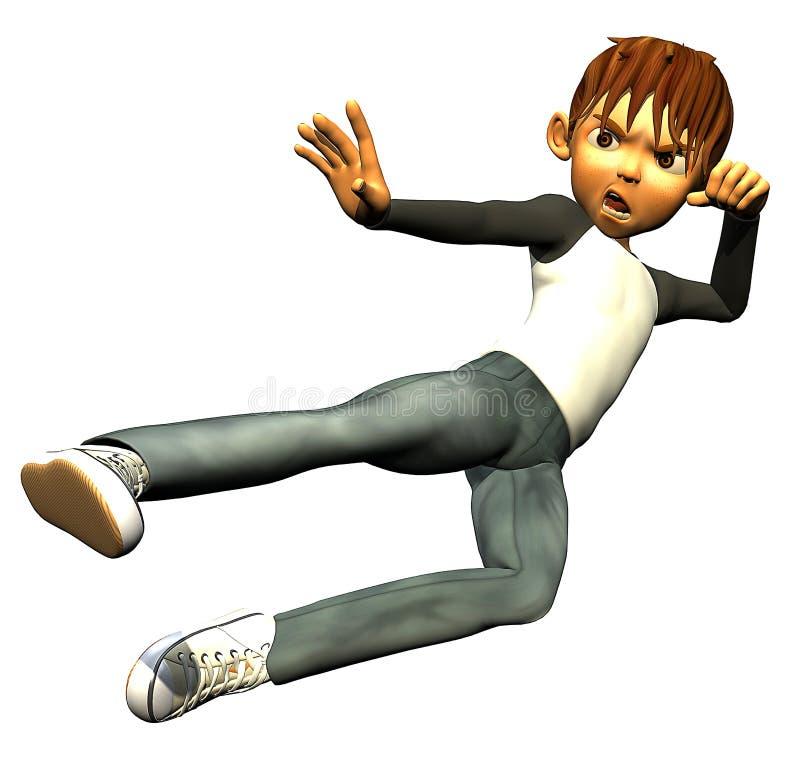 Embrome el karate humano adolescente del muchacho ilustración del vector