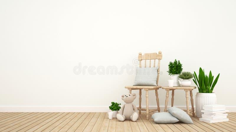 Embrome el sitio o sala de estar y jardín interior - representación 3D stock de ilustración
