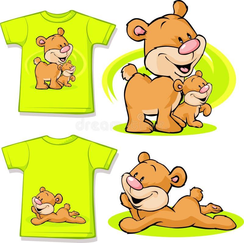Embrome la camisa con el oso lindo en amor impreso stock de ilustración