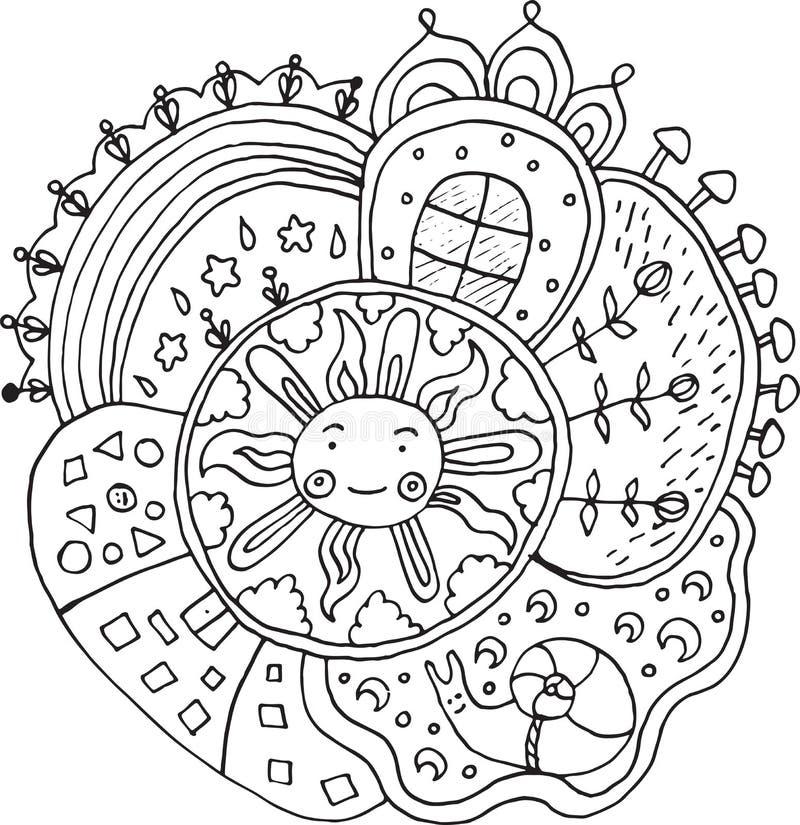 Embrome la mandala exhausta con los elementos del sol y de la naturaleza - garabatee el colorante ilustración del vector