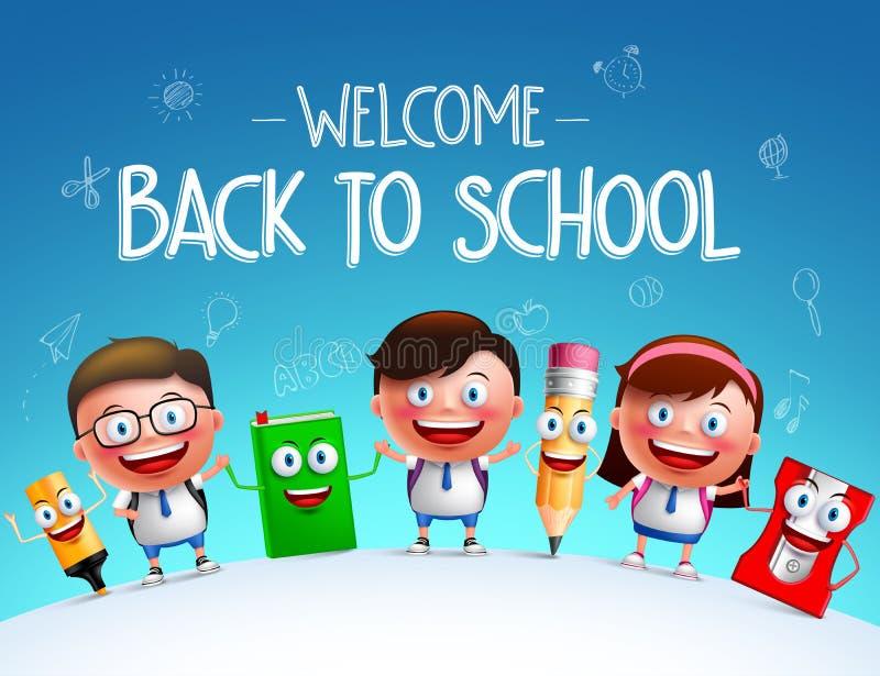 Embrome los caracteres del vector de los estudiantes y la mascota divertida de los artículos de la escuela libre illustration