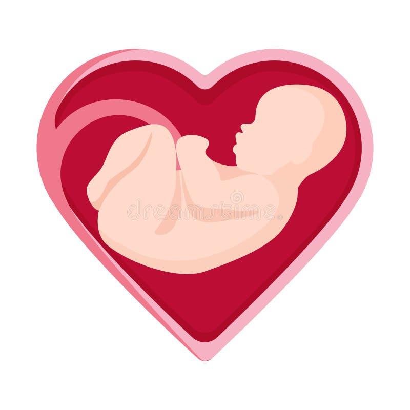 Embryo in heart shape inside human vector illustration unborn person stock illustration