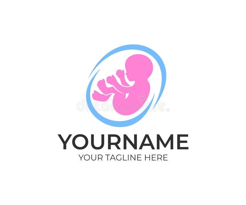 Embryobaby en foetus binnen mamma` s buik, embleemmalplaatje Kind in de uterus en de zwangerschap, zwanger, vectorontwerp stock illustratie
