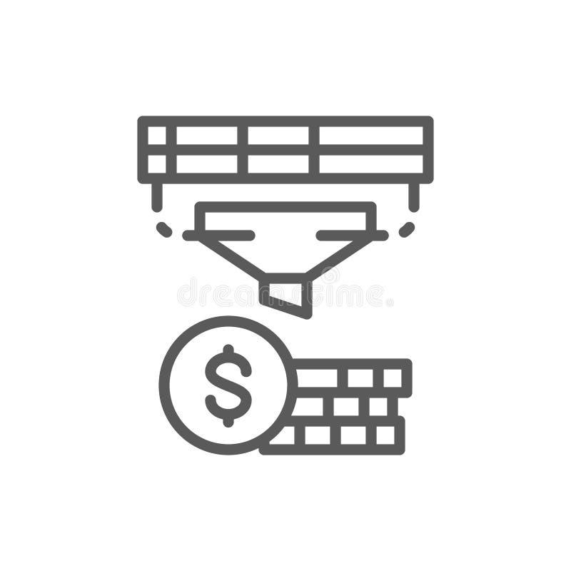 Embudo con el dinero, conversión de las finanzas, línea icono de la renta de la optimización ilustración del vector