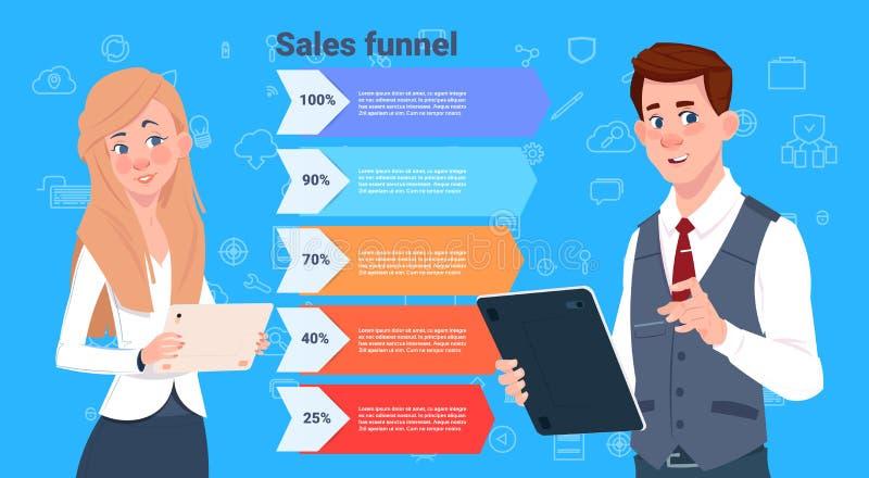 Embudo de las ventas de la mujer del hombre de negocios con el negocio de etapas de los pasos infographic concepto del diagrama d libre illustration