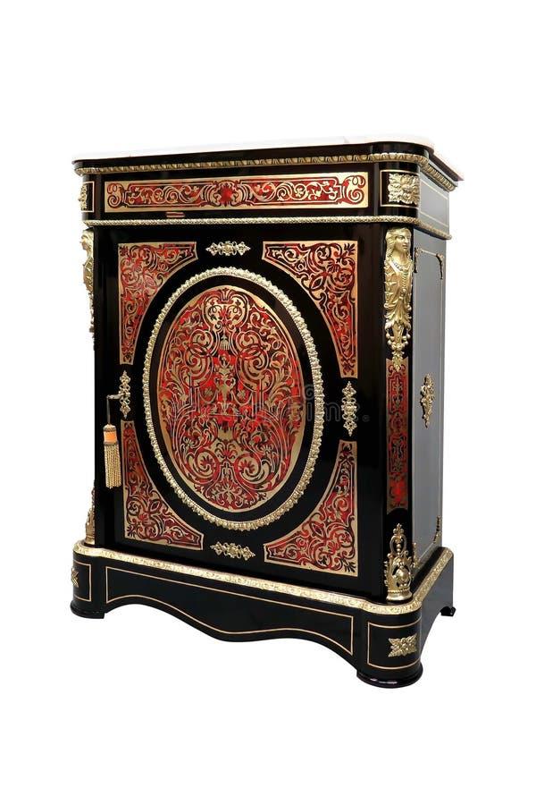 Embutimento francês do aparador do Boulle do século XIX com concha de tartaruga e bronze vermelhos imagem de stock