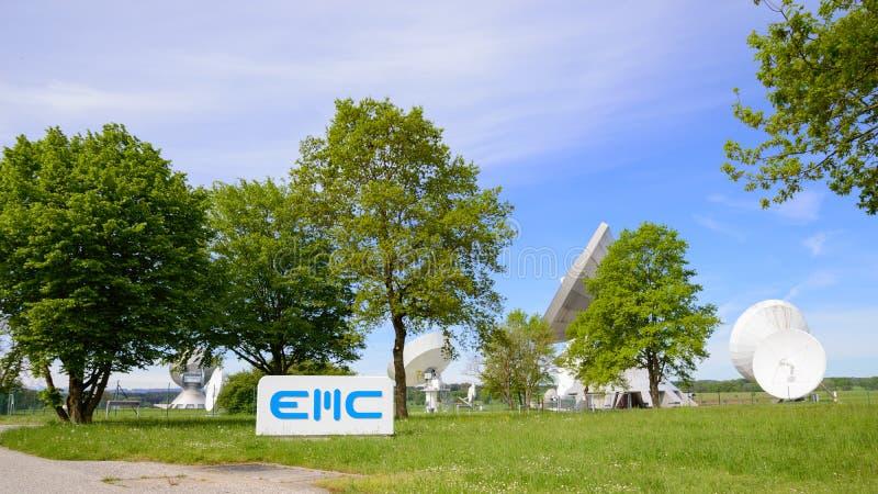 EMC GmbH telecommunications company in Raisting satellite ground station. Raisting, Germany - May 21, 2016: EMC GmbH telecommunications company in Raisting stock images