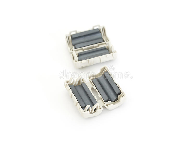 EMC, RFI and Noise reduction device - Ferrite Clamp. Or Clamp Filter stock image