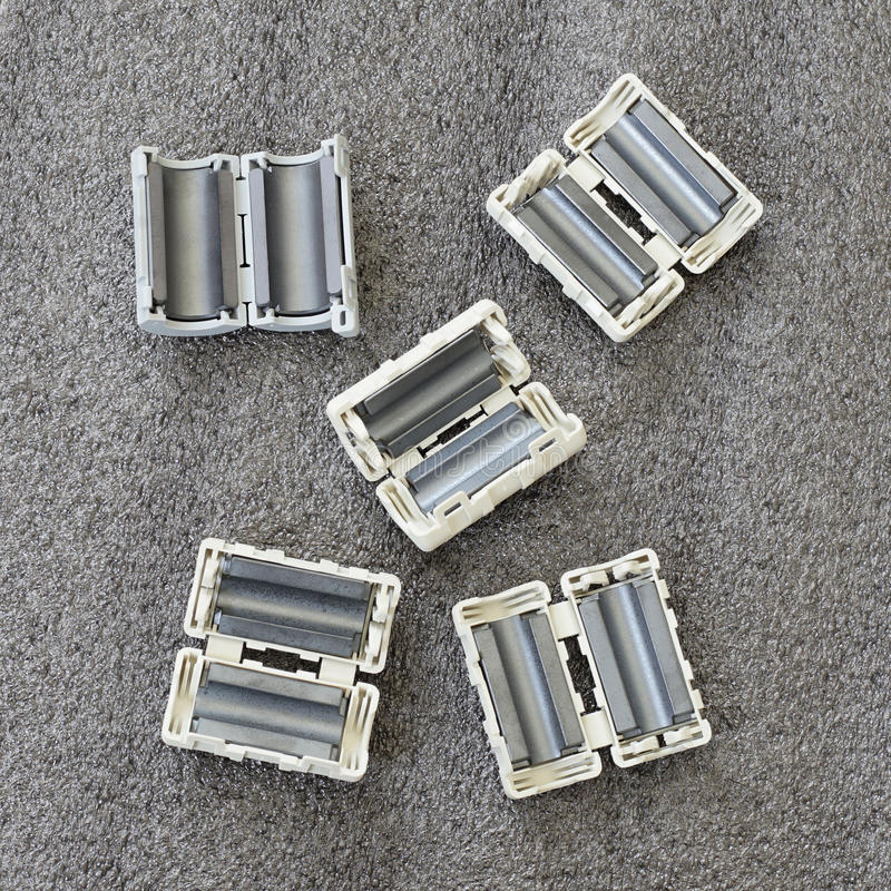 EMC, RFI and Noise reduction device - Ferrite Clamp. Or Clamp Filter stock images