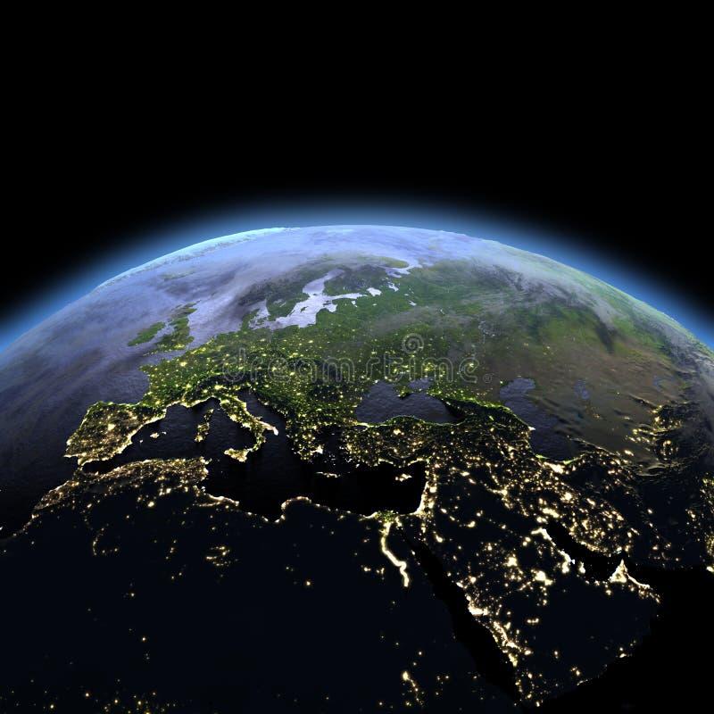 EMEA gebied van ruimte bij dageraad stock illustratie