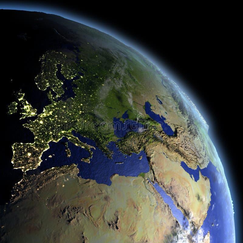 EMEA gebied van ruimte bij dageraad royalty-vrije illustratie