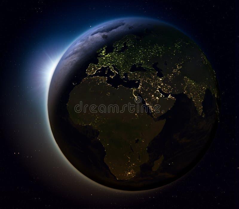 EMEA gebied van ruimte bij nacht vector illustratie