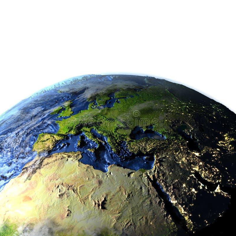 Emea-Region auf Erde - sichtbarer Meeresgrund lizenzfreie abbildung