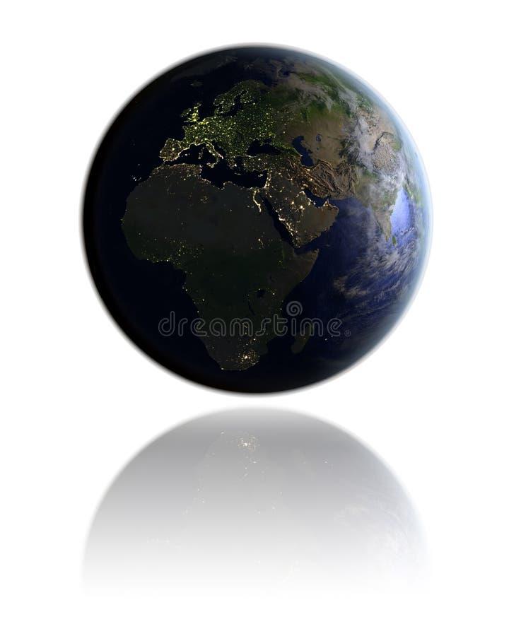 EMEA region na kuli ziemskiej przy nocą ilustracja wektor