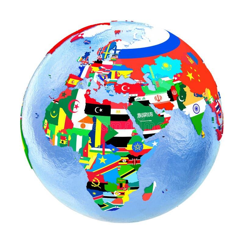 EMEA region na politycznej kuli ziemskiej z flaga odizolowywać na bielu ilustracja wektor