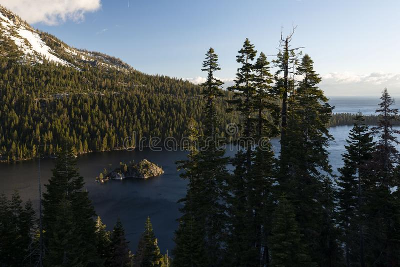 Emerald Bay and Fannette Island at sunrise, South Lake Tahoe, California, United States. Emerald Bay State Park is a state park of California in the United stock photography