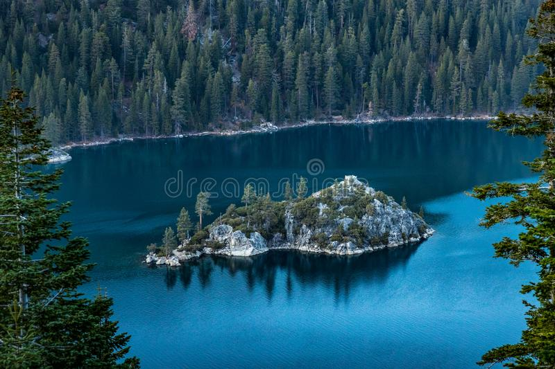 Emerald Bay and Fannette Island at Sunset stock photography