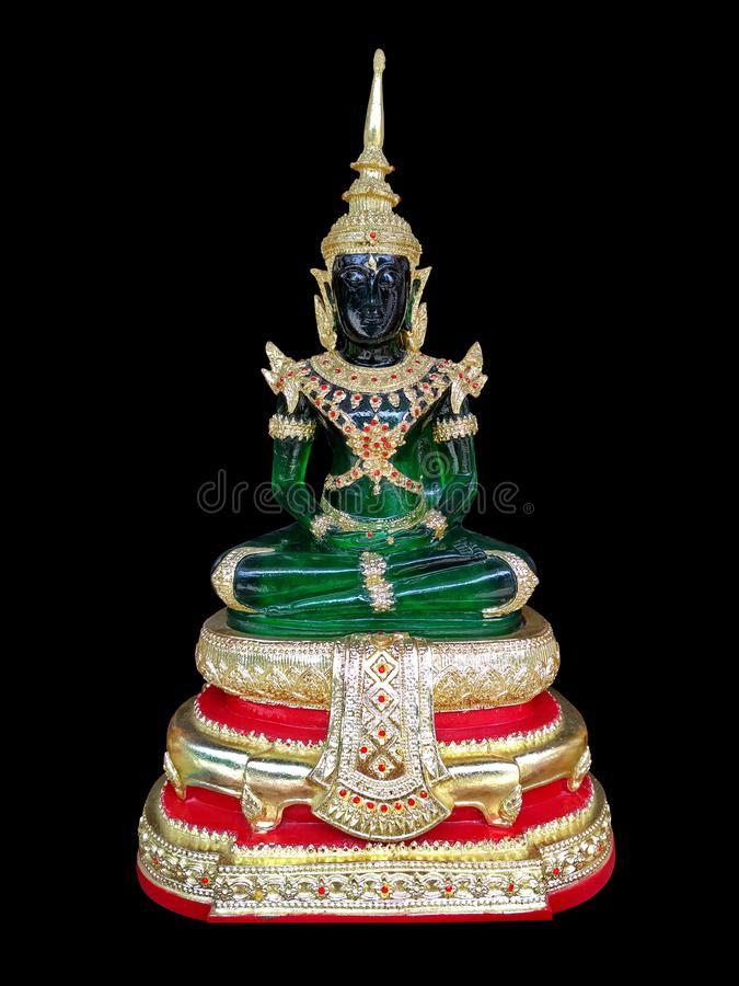 Emerald Buddha body green on black background. stock photos