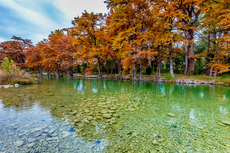 Emerald Colored River at Garner State Park, Texas. Beautiful Fall Foliage Surrounding the Graveled Emerald Clear Frio River, Texas royalty free stock photography