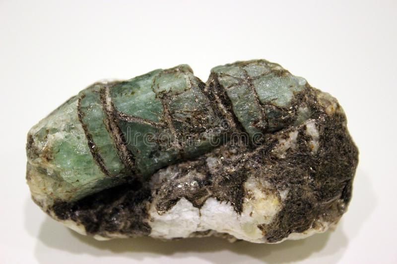 Emerald, ctystal green beryl in mica from Ural stock photos