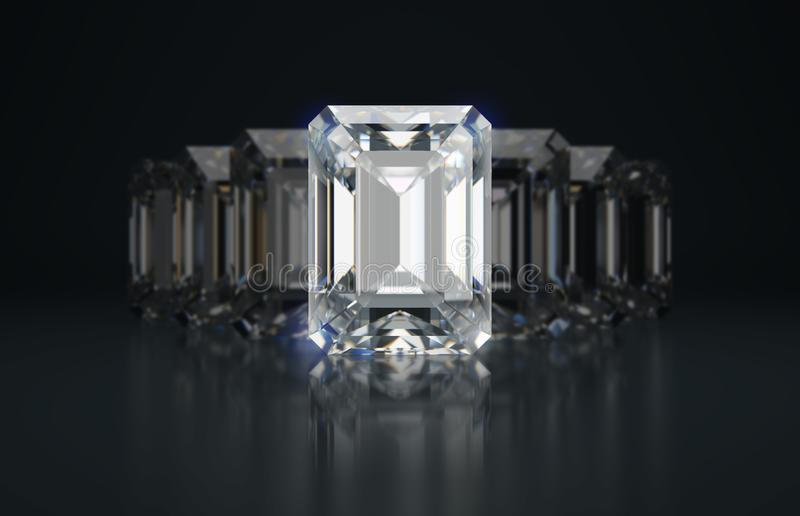 Emerald cut diamonds stock illustration
