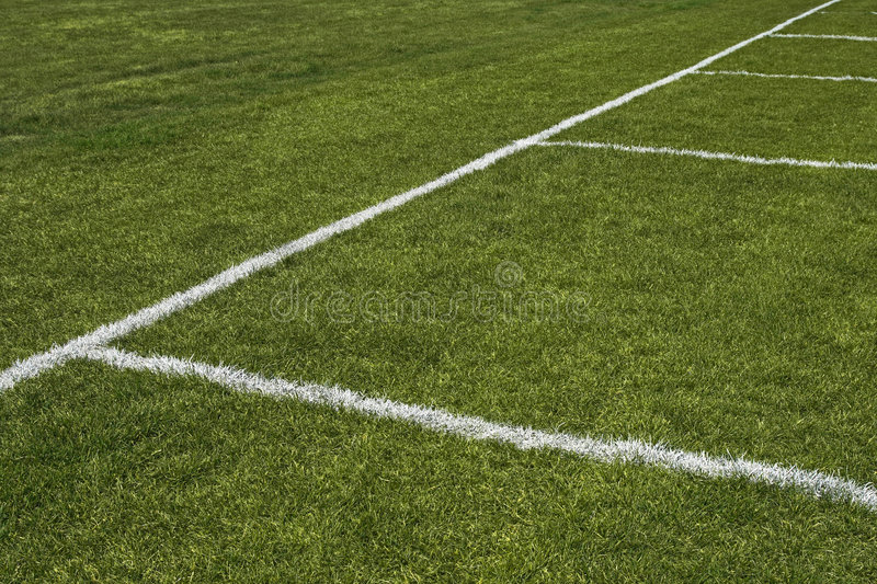 Emerald grass of a playing field. With painted white lines stock images
