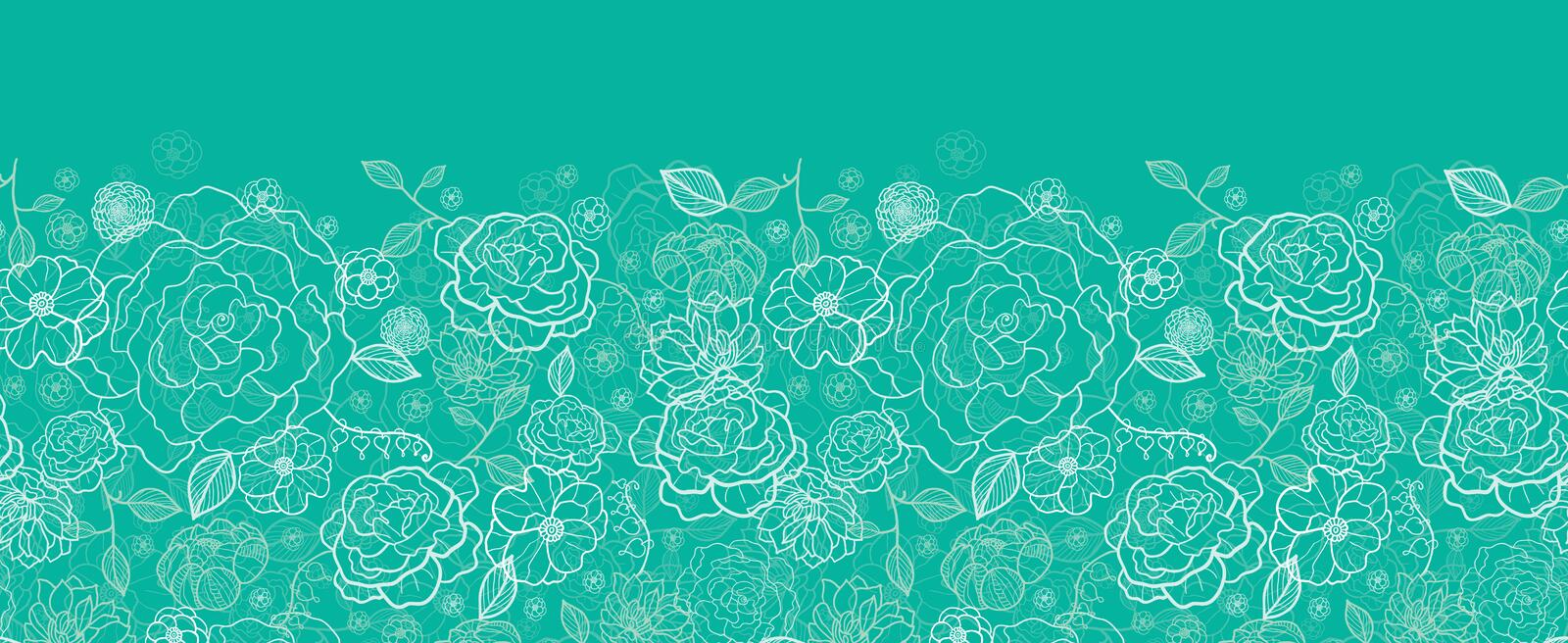 Download Emerald Green Floral Lineart Horizontal Seamless Stock Vector - Image: 31907469