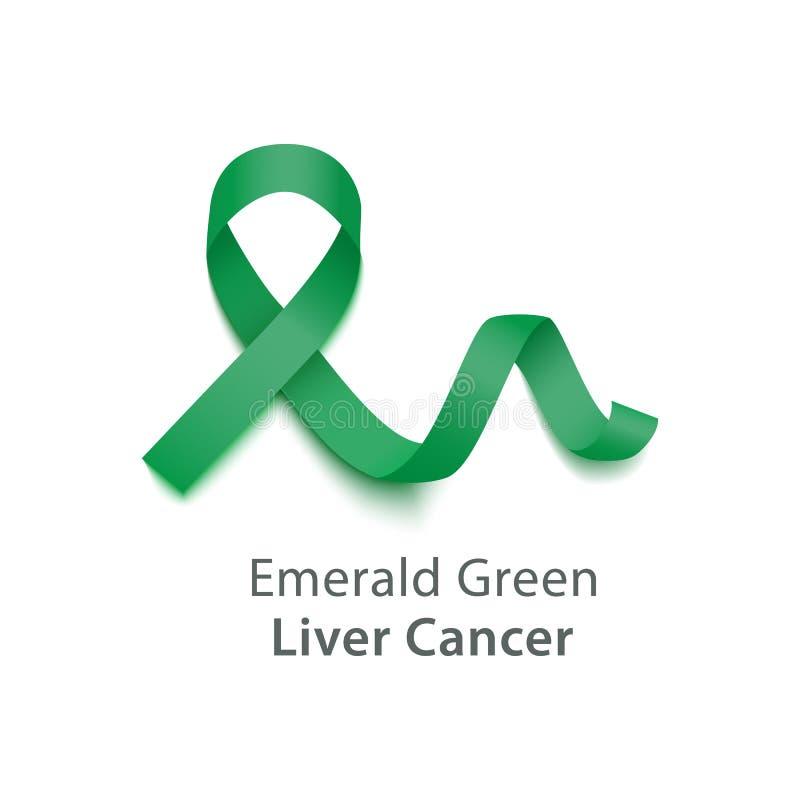 Emerald Green Jade ribbon symbolize Liver Cancer Awareness health care vector. Emerald Green Jade symbolize Liver Cancer Awareness Month ribbon. Health care royalty free illustration