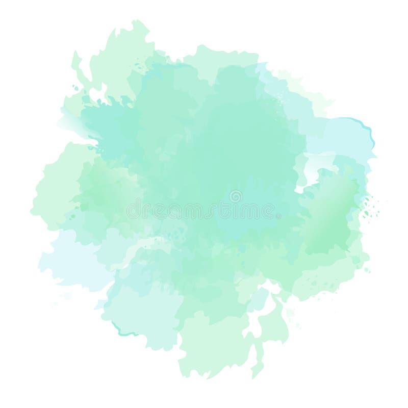 Emerald green, mint, dusty blue sage watercolor vector splash. Background hand-drawn texture. Painted spot. Elegant decoration detail. Watercolour pastel royalty free illustration