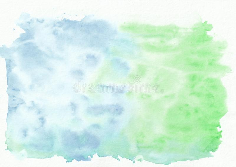 Emerald jade and azure mixed watercolor horizontal gradient background. It`s useful for greeting cards, valentines. Letters. Abstract art style handicraft vector illustration