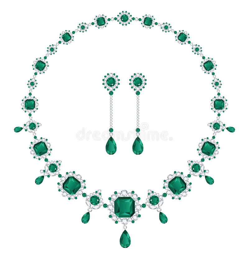 Emerald jewelry royalty free illustration
