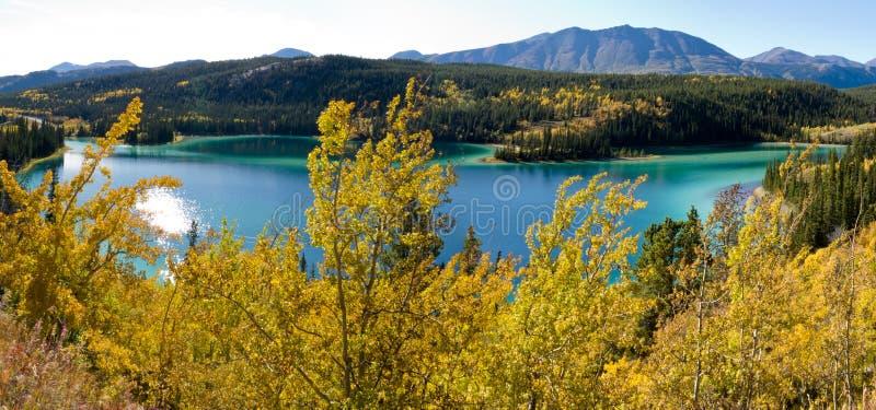 Emerald Lake at Carcross, Yukon Territory, Canada. Panorama of fall colors at Emerald Lake near Carcross, Yukon Territory, Canada stock images