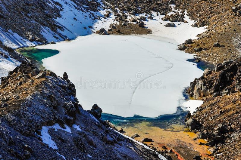 Emerald Lakes in het Nationale Park van Tongariro, Nieuw Zeeland stock foto's
