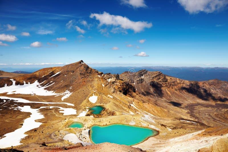 Emerald Lakes, New Zealand stock photography