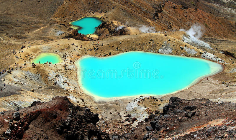 Emerald Lakes. The Emerald Lakes in the Tongariro National Park in New Zealand stock photography