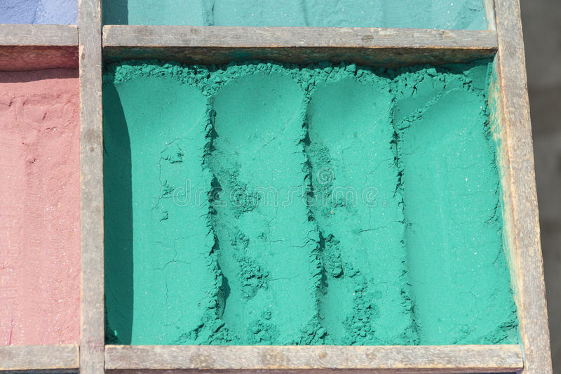 Emerald pigments near Kathmandu, Nepal. Emerald pigments close to entrance of Pashupatinath Temple near Kathmandu, Nepal stock image