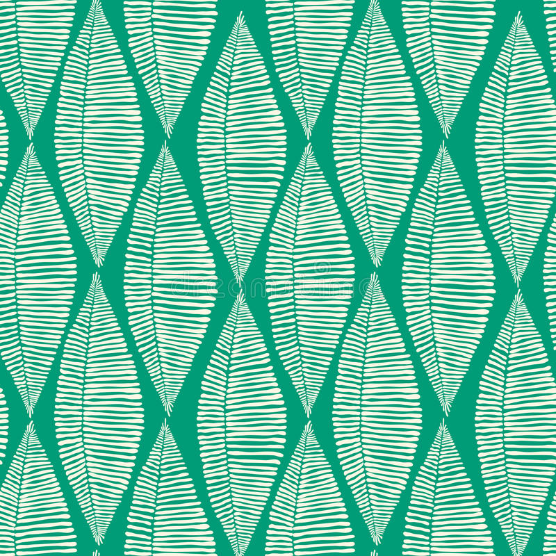 Emerald Tribal Leaves Seamless Pattern vector illustration