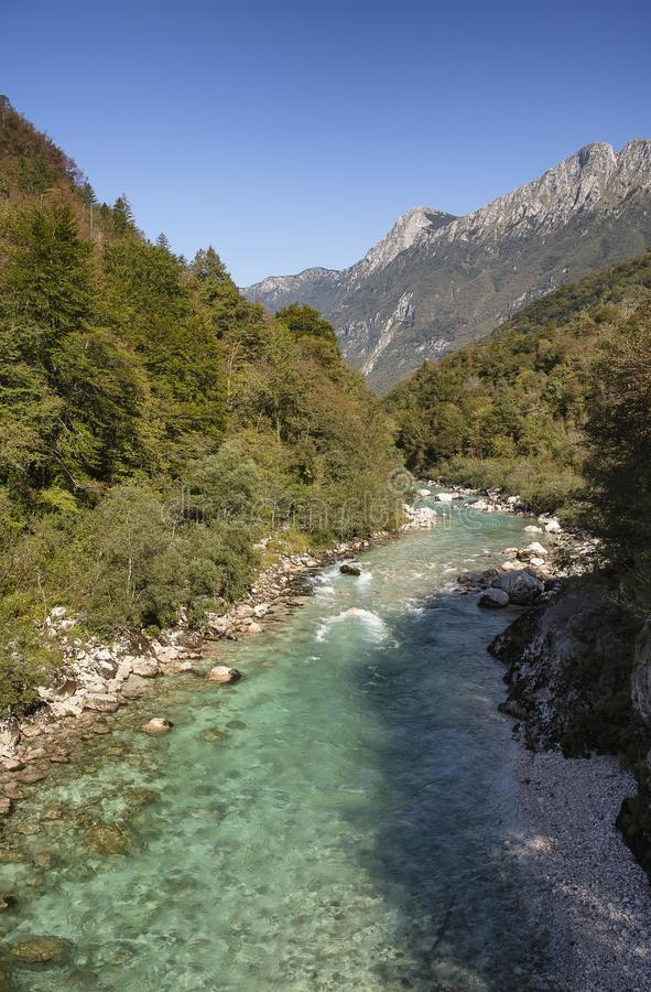 Emerald turquoise transparent water of Soca river in a sunny day, in Soca Valley, Slovenia royalty free stock image