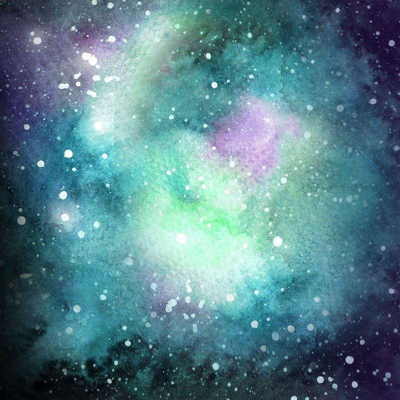 Emerald Violet Galaxy Watercolor Illustration Texture vektor illustrationer
