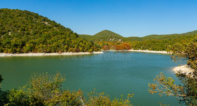 Emerald water of lake in Sukko with group cypresses Taxodium distichum, against background of mountain. Covered with forests. Natural beauty of resort near stock photography
