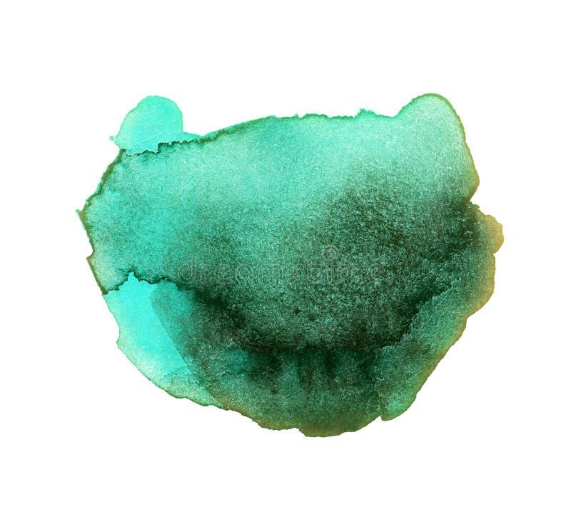 Emerald Watercolor Splat scuro illustrazione di stock
