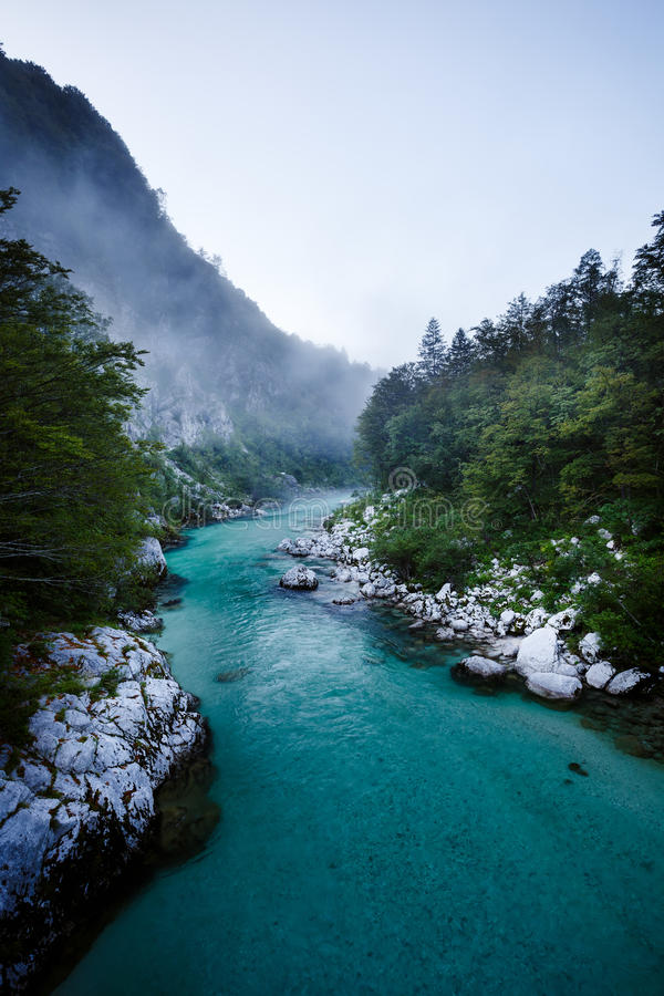Emerald waters of the alpine river Soca in Slovenia stock image