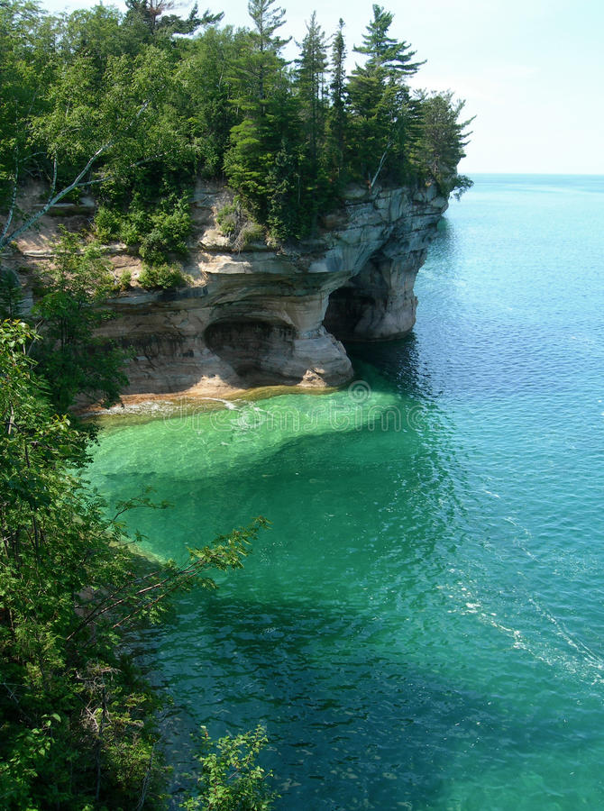Emerald waters on Lake Superior. Emerald waters at Pictured Rocks National Park, on Lake Superior in scenic Michigan Upper Peninsula, USA stock photography