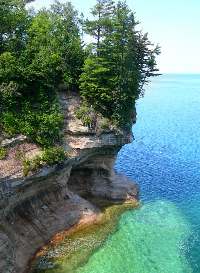 Emerald waters on Lake Superior. Emerald waters at Pictured Rocks National Park, on Lake Superior in scenic Michigan Upper Peninsula, USA royalty free stock image