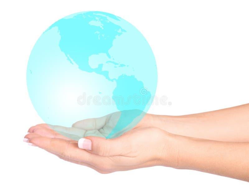emeraldthe hands den din världen royaltyfria bilder