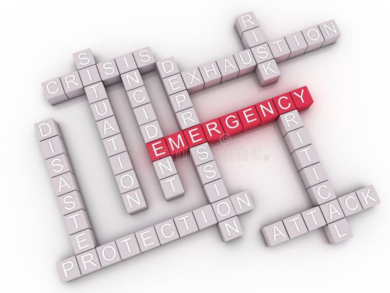 a emergência da imagem 3d emite o fundo da nuvem da palavra do conceito ilustração do vetor