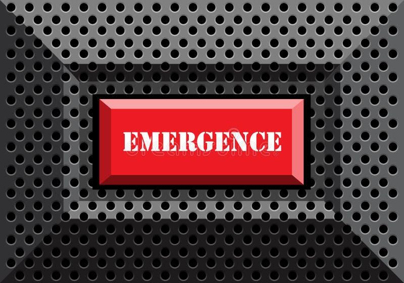 Emergência do botão vermelho na obscuridade - vetor futurista moderno cinzento da malha 3D do círculo do metal ilustração do vetor
