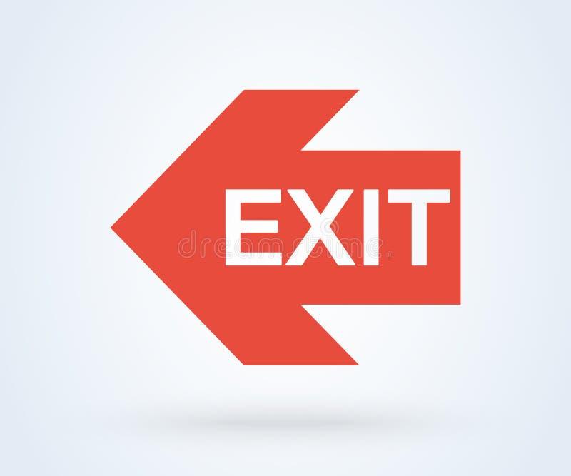 Emergência e seta do ícone da saída da saída Vermelho do vetor ilustração stock