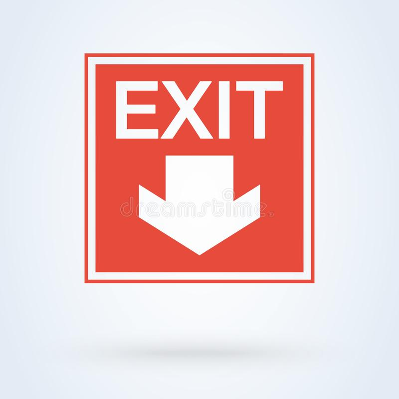 Emergência e seta do ícone da saída da saída Vermelho do vetor ilustração royalty free
