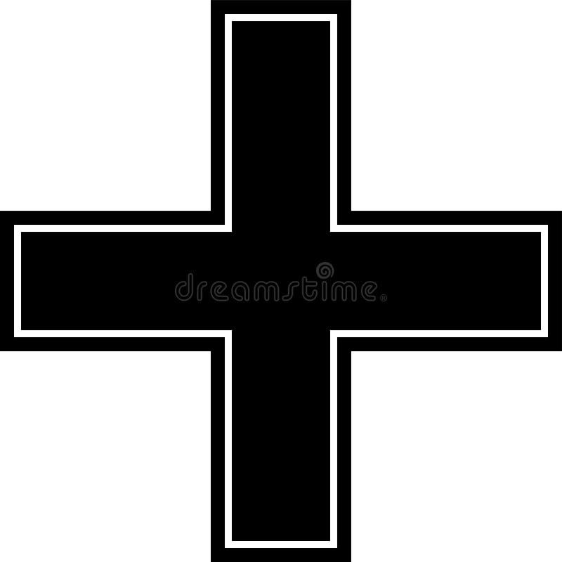 Emerg?ncia, cruz, vermelho, preto, quadro & ?cone frameless isolados no fundo branco ilustração royalty free